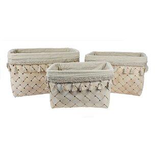 Inexpensive Storage 3 Piece Solid Wood Basket Set By Highland Dunes