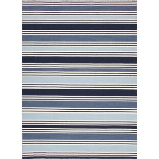 Price Check Macadam Flatweave Wool Blue/White Area Rug By Beachcrest Home