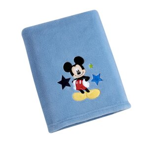 Mickey Solid Coral Fleece Blanket with Applique