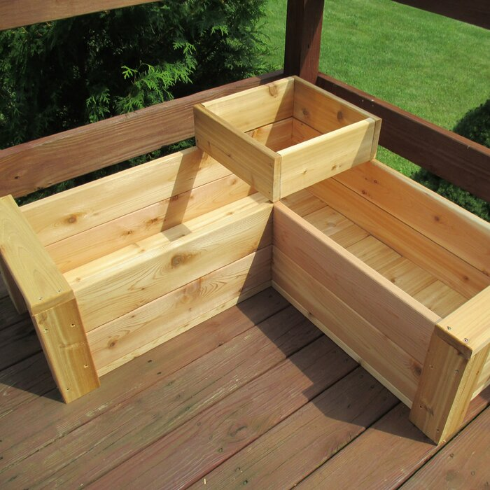 August Grove Gunderson L Shaped Multi Level Cedar Planter Box