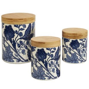 Clair Blue 3 Piece Kitchen Canister Set