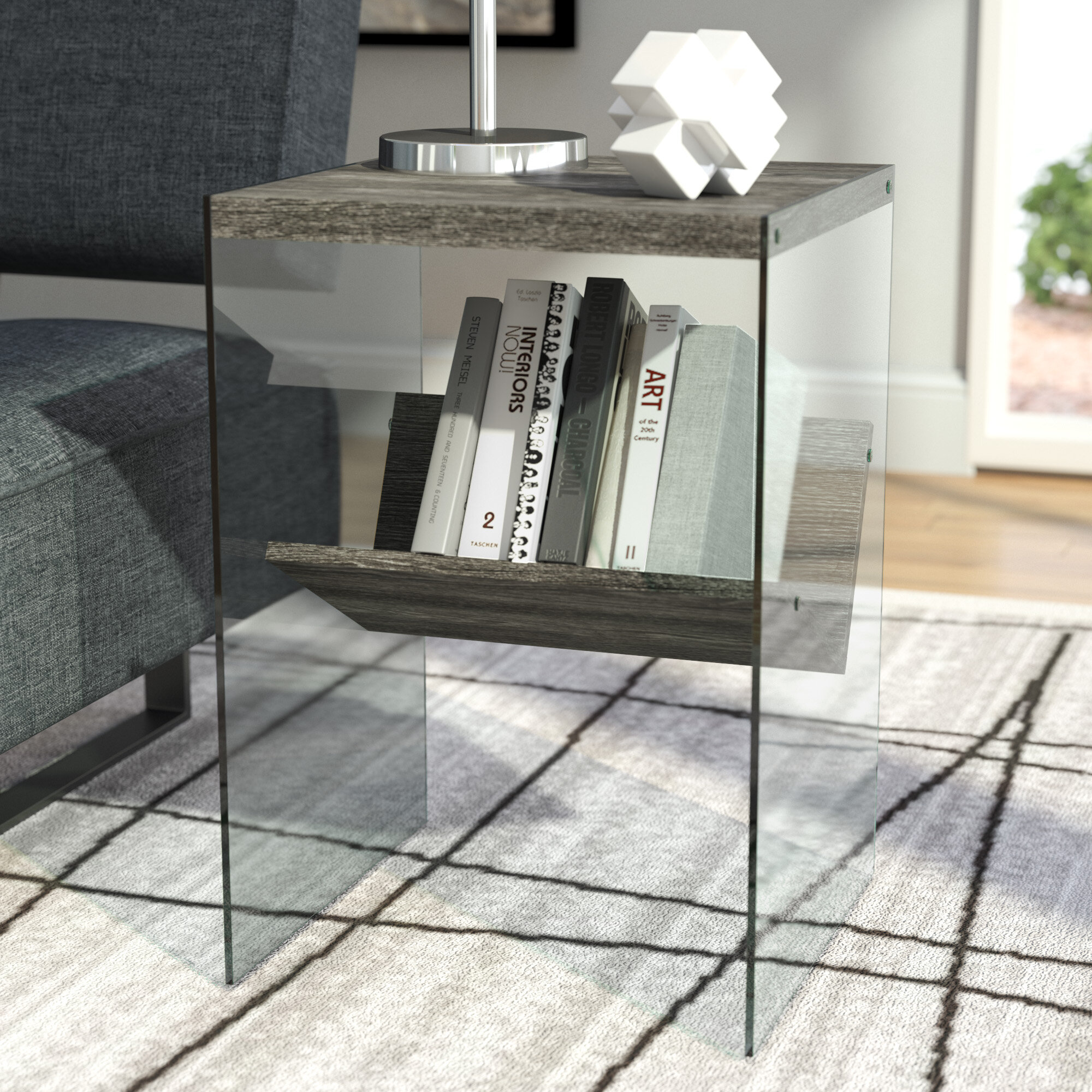 Wade Logan Calorafield Sled End Table With Storage Reviews Wayfair