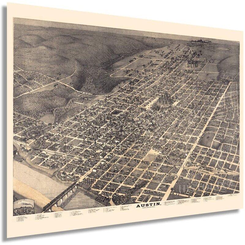 HISTORIX Vintage 1887 Austin Texas Map - 18X24 Inch Vintage Austin Texas Wall Art