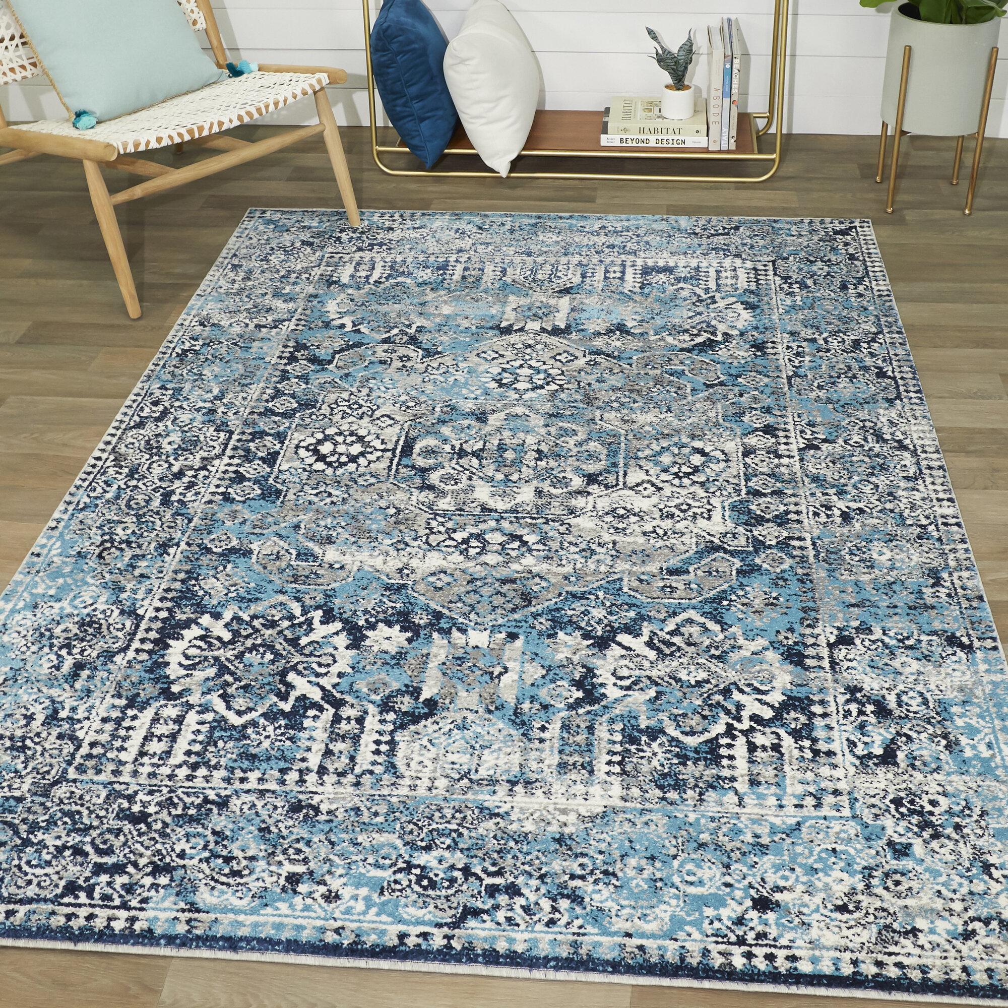 Charlton Home Fasti Oriental Blue Teal Area Rug Reviews Wayfair
