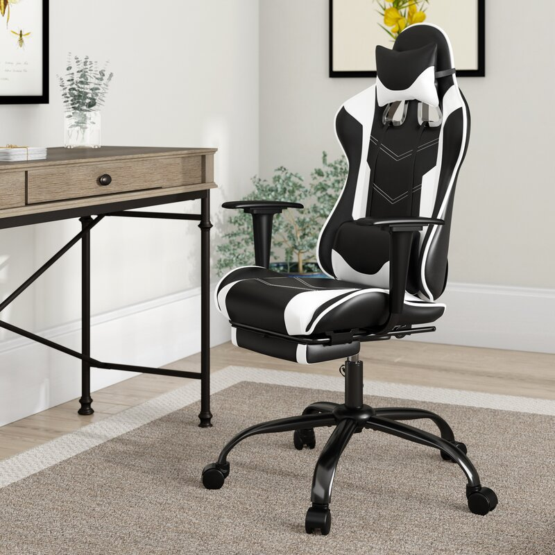 PU Leather Desk Chair Swivel Computer Chair Ergonomic Racing Chair with Lumbar Support and Armrest Office Chair PC Gaming Chair