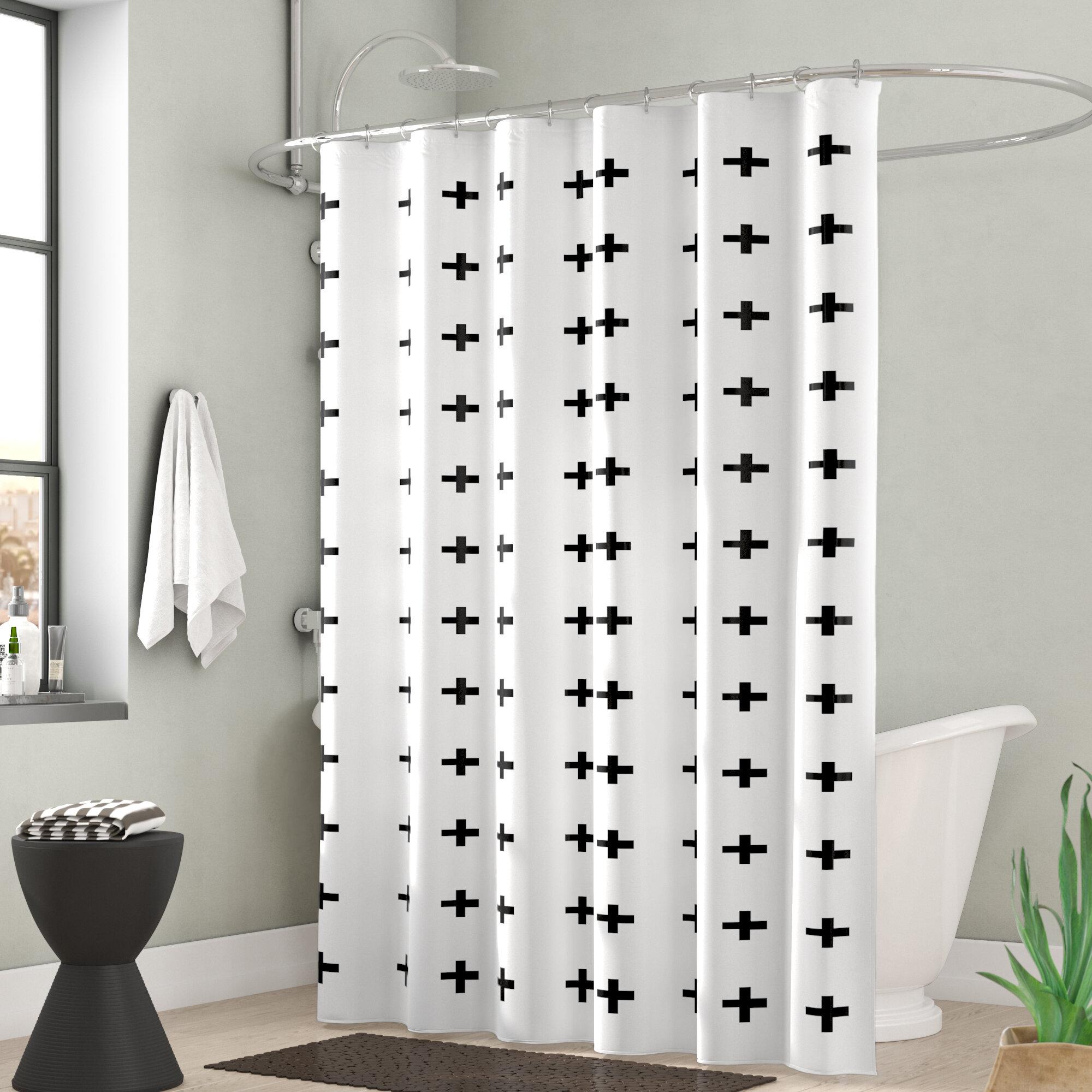 Monroe Extra Long Signes Fabric Single Shower Curtain