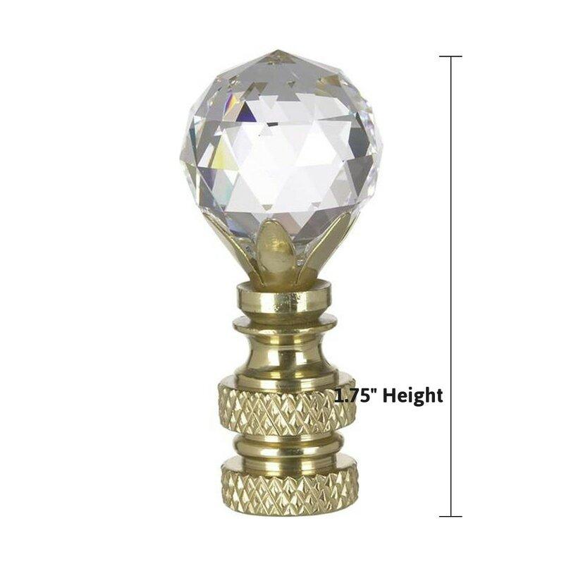 Lamp Finial-SUN-Faceted Crystal Lamp Finial-Satin Nickel Base