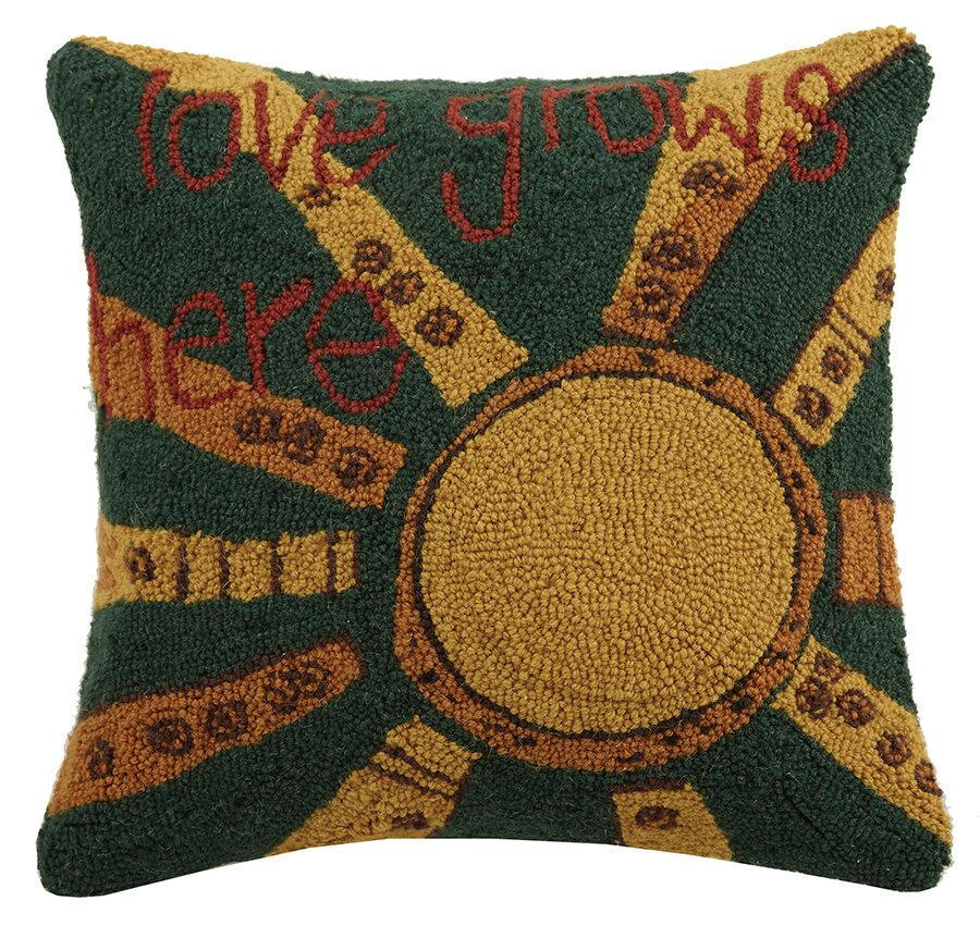 Painted Peace By Stephanie Burgess Love Grows Here Wool Throw Pillow Wayfair