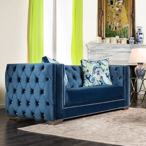 Ama Tuxedo Chesterfield Loveseat by Willa Ar..