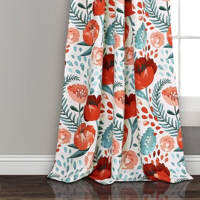 Bungalow Rose Bryonhall Poppy Garden Room Darkening Rod Pocket Curtain Panels Size: 95 W x 52 L, Curtain Color: Multi