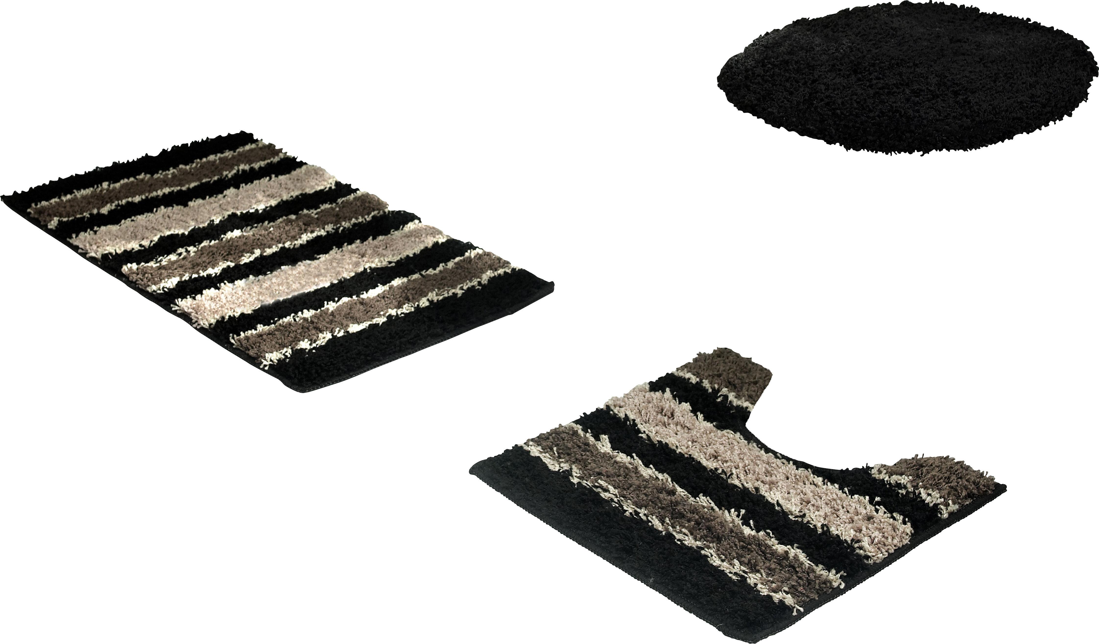 Bath Frieze Deliso Stripe Shag Rectangle Memory Foam Non Slip Striped 3 Piece Bath Rug Set Reviews Wayfair