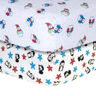 Price comparison Snowman and Penguin Print Flannel Fitted Crib Sheet Set (Set of 2) ByTrend Lab