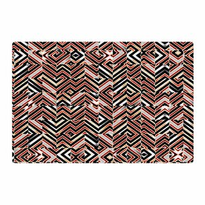 Dawis Roc Maze Geometric Abstract 1 Orange/Black Area Rug