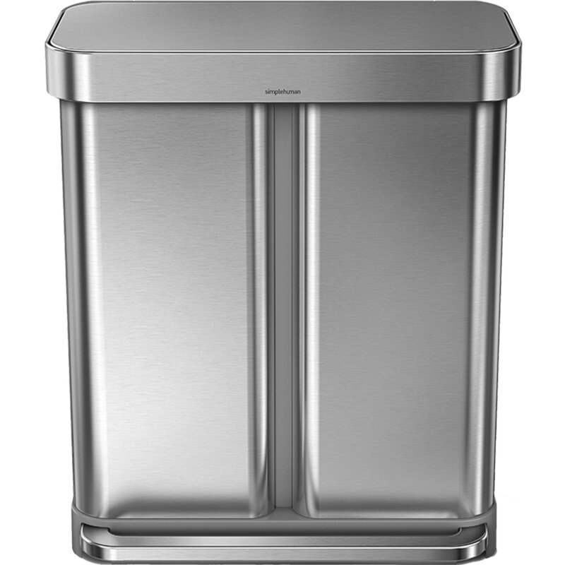 . 15 Gallon Dual Compartment Rectangular Step Trash Can with Liner Pocket   Recycler  Stainless Steel