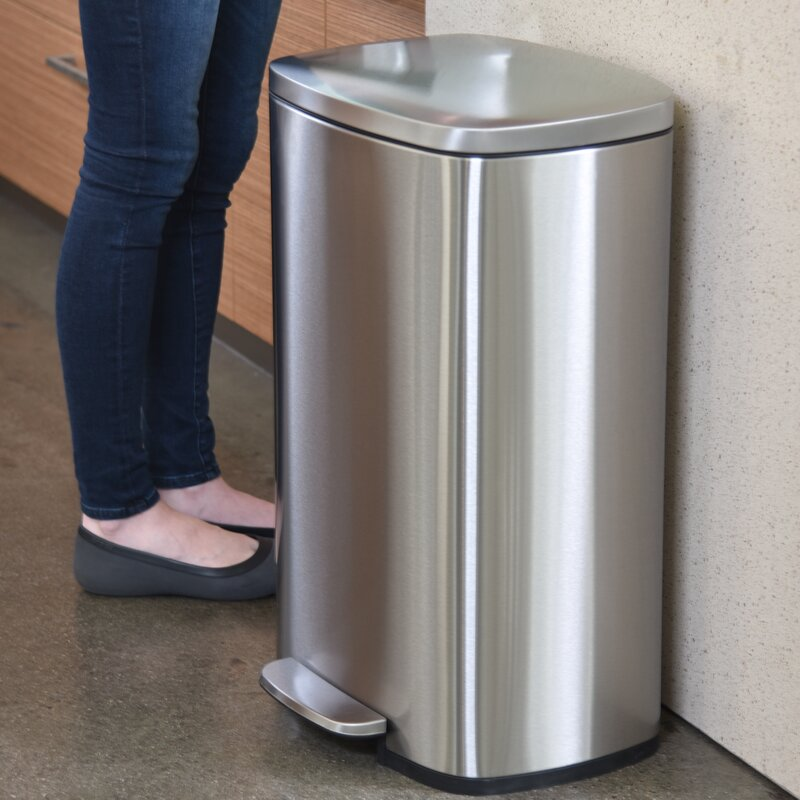 Soft Step Stainless Steel 13 Gallon Step On Trash Can