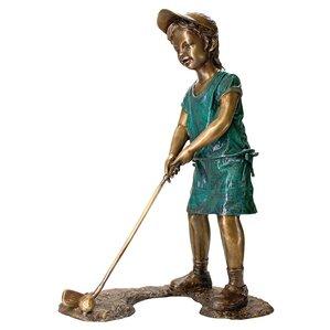Gabrielle The Girl Golfer Cast Garden Statue