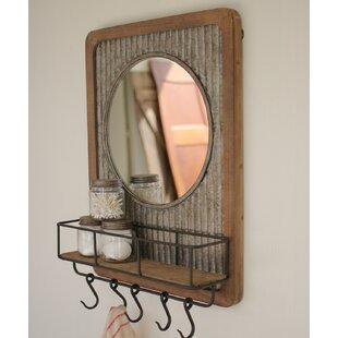 Gracie Oaks Adalheid Corrugated Wood Shelf Accent Mirror