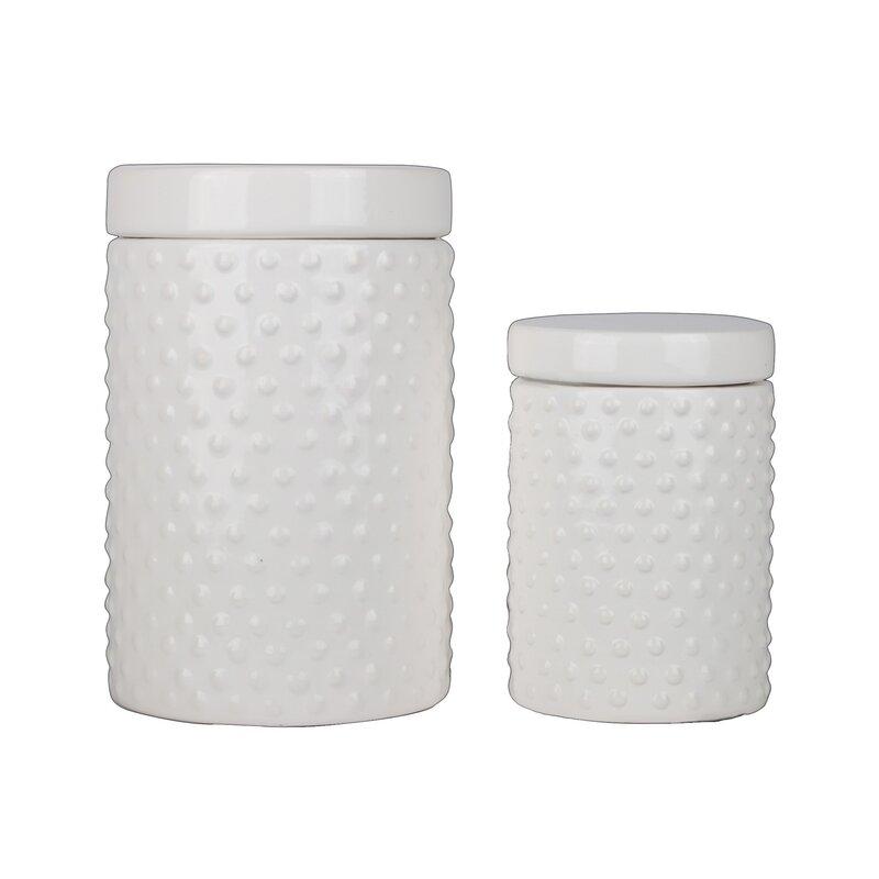 Latitude Run Ceramic 2 Piece Kitchen Canister Set Wayfair