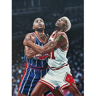 'Dennis Rodman and Charles Barkley Battle for a Rebound' Oil Painting Print on Wrapped Canvas by East Urban Home