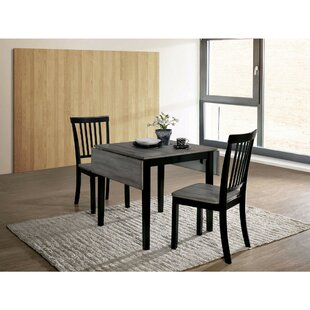 Maone Transitional 3 Piece Drop Leaf Solid Wood Dining Set