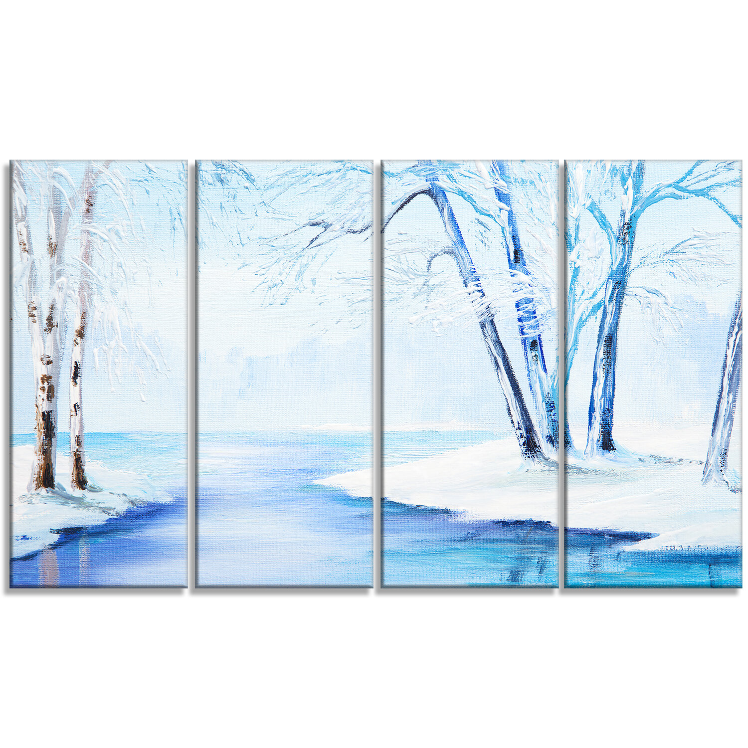 Designart River In Snowy Winter Landscape 4 Piece Painting Print On Wrapped Canvas Set Wayfair