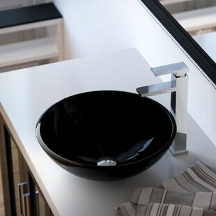 Best Reviews Tempered Glass Circular Vessel Bathroom Sink ByMR Direct