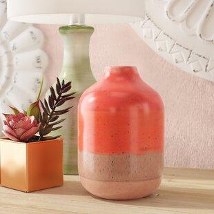 Orange Decorative Ceramic Table Vase byBungalow Rose