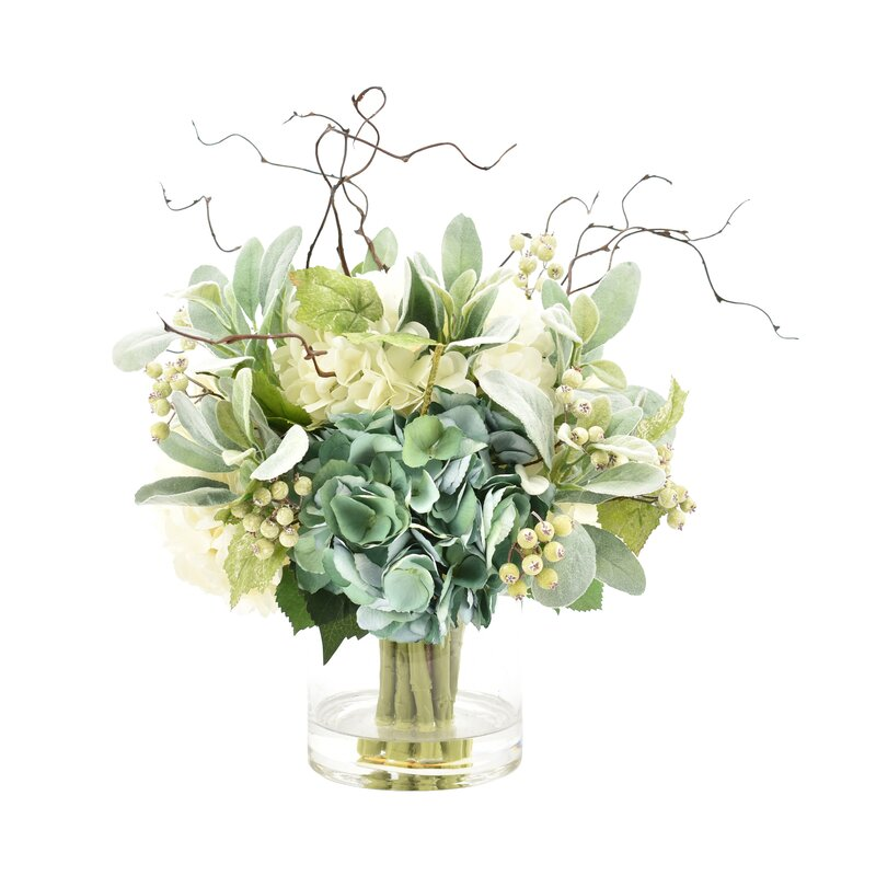 Hydrangeas Floral Arrangement In Glass Vase Reviews Joss Main