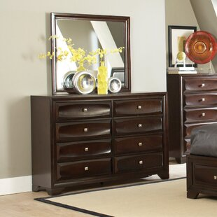 8 Drawer Double Dresser with Mirror