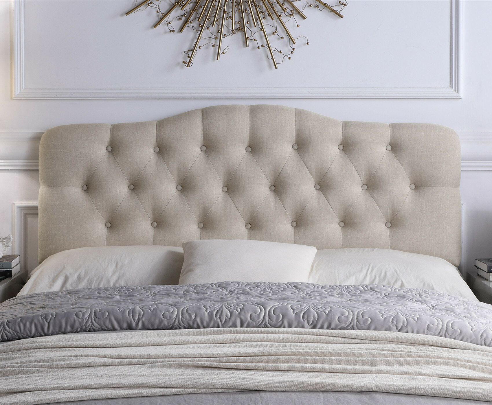 images for warm friendly linen headboard