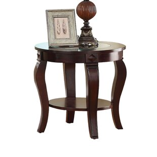 Torrez Glass Insert Top Round Wooden End Table