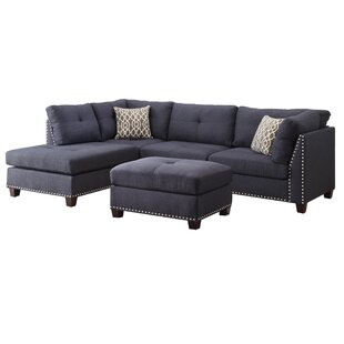 Draco Sectional Sofa with Ottoman by Alcott Hill