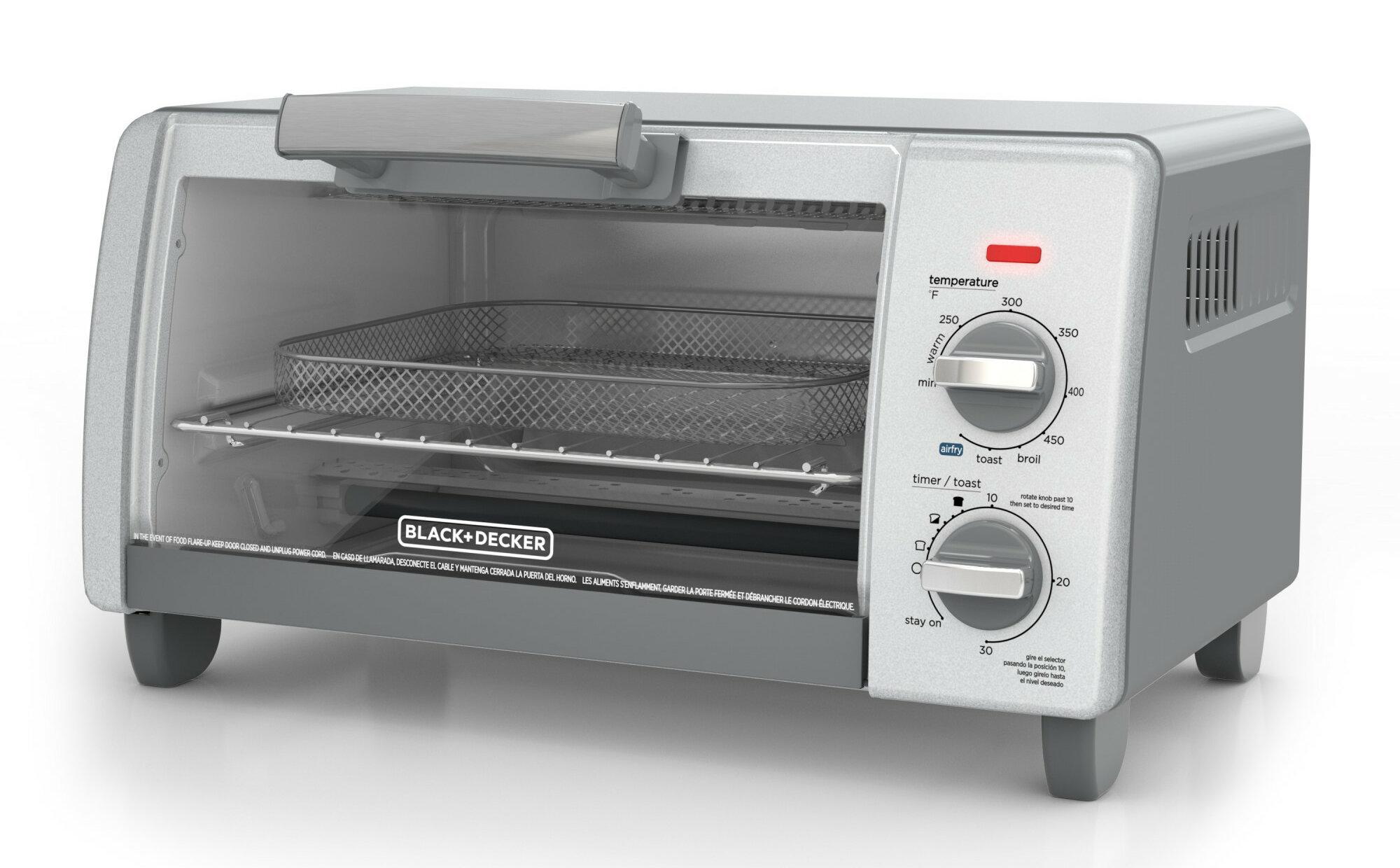 Cuisine Fermée En U black + decker crisp bake air fry 4-slice toaster oven