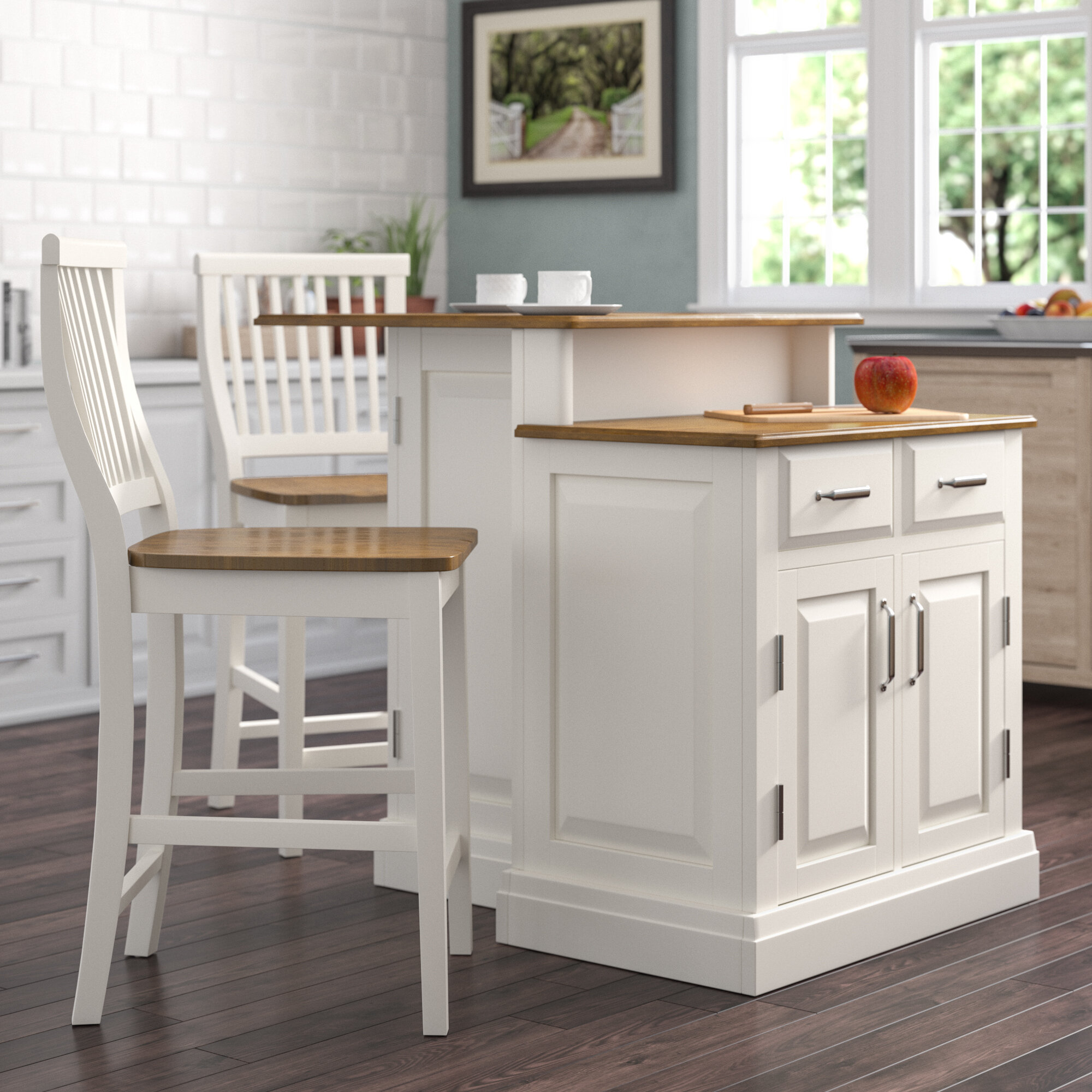 darby home co susana 3 piece kitchen island set with wood top rh wayfair com white kitchen island wood top hardiman kitchen island with wood top