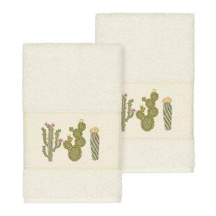 Hoeft Embellished Turkish Cotton Hand Towel (Set of 2)