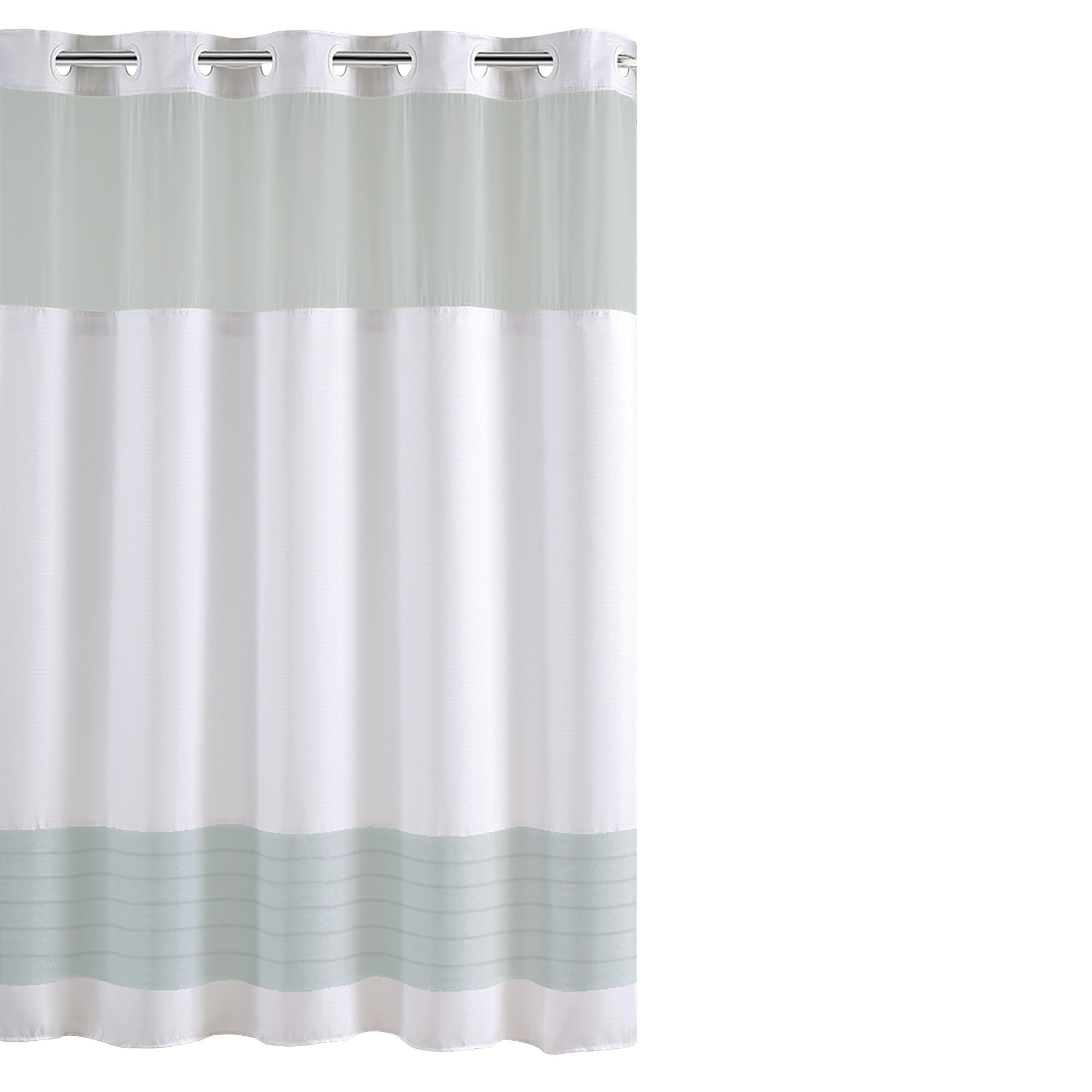 Hookless Color Block Shower Curtain With Fabric Liner Navy