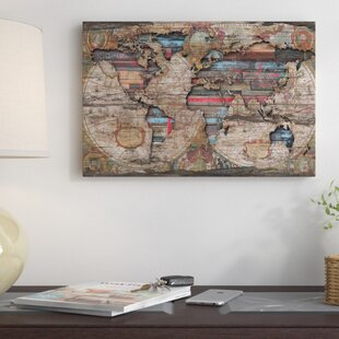 World map wall art distressed world map graphic art print on canvas gumiabroncs Images