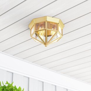 Read Reviews Riddles 3-Light Outdoor Flush Mount By Charlton Home