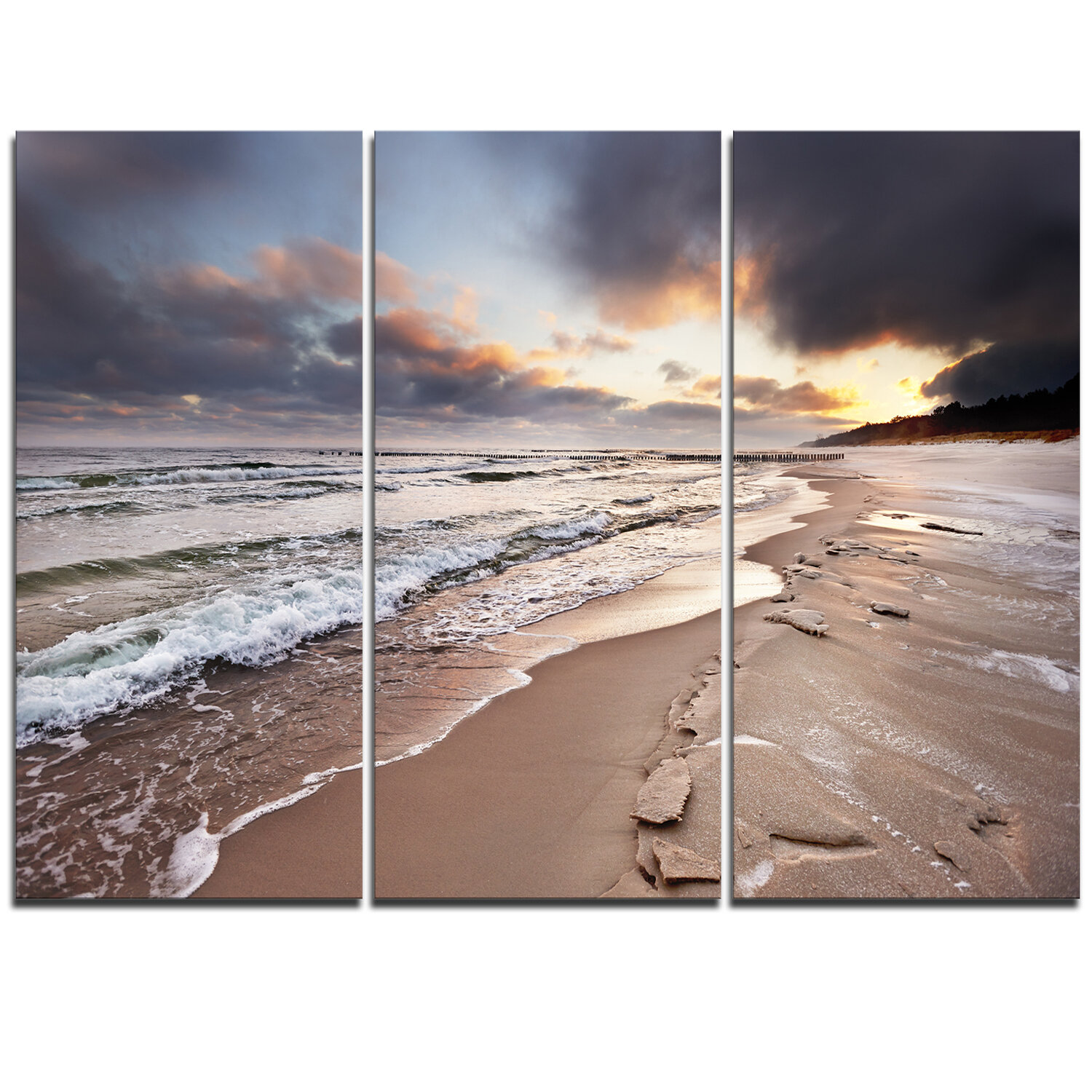 Designart Shore Of Baltic Sea During Winter 3 Piece Graphic Art On Wrapped Canvas Set Wayfair