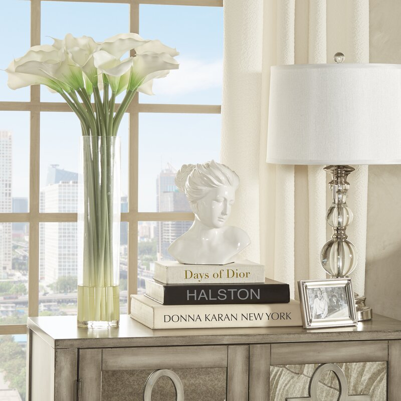 6a9d444b66d Willa Arlo Interiors Calla Lily in Cylinder Silk Flower Arrangement &  Reviews | Wayfair