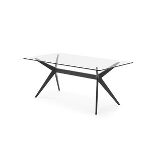 Kent - Table - Transparent Tempered Glass Top - Matt Black Lacquer Ash Wood Finish Frame and Legs
