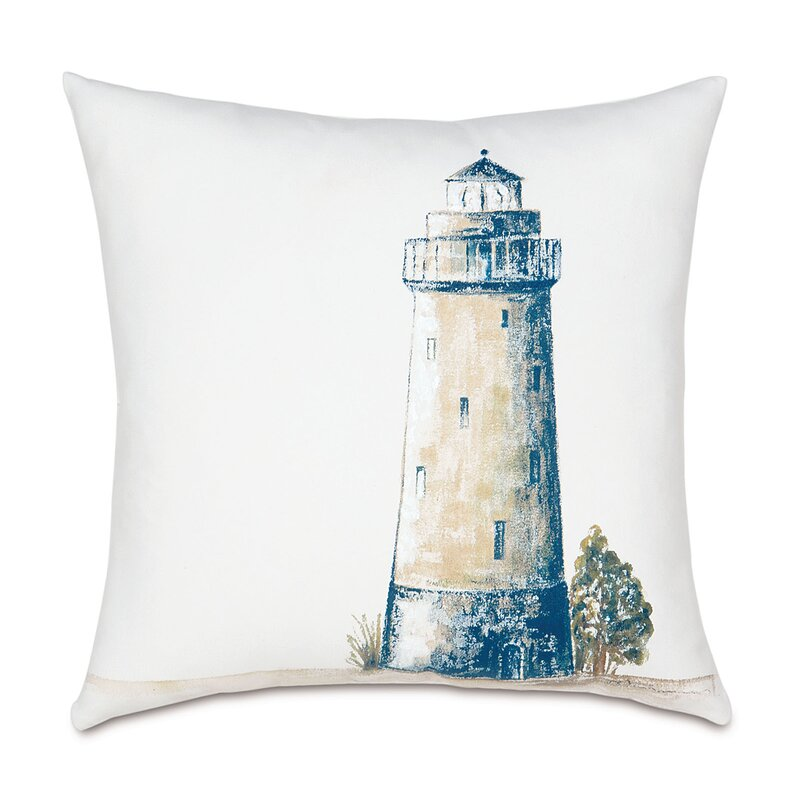 Light house decorative pillow case Beach home accent pillow Lighthouse hand painted pillow cover Pillow cover painted ocean landscape