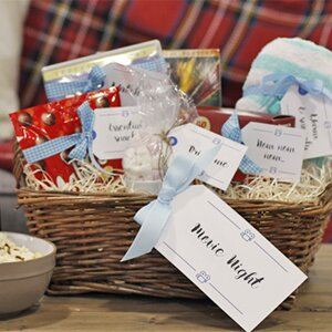 Diy hampers 10 free sets of printable gift tags wayfair a closeup of a diy gift hamper filled with homemade gifts and free printable gift tags negle Image collections