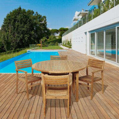 Uecker International Home Outdoor 5 Piece Teak Dining Set by Highland Dunes Today Only Sale