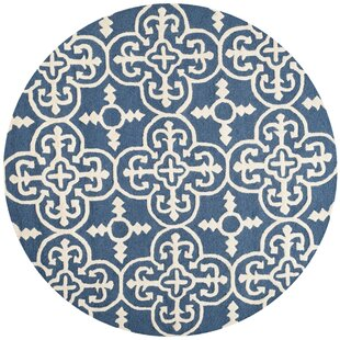 Byron Hand-Tufted Wool Navy Blue/Ivory Wool Area Rug by Three Posts