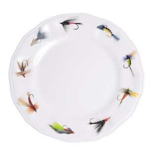 Timmons Fishing Flies Melamine Non-Skid Dinner Plate