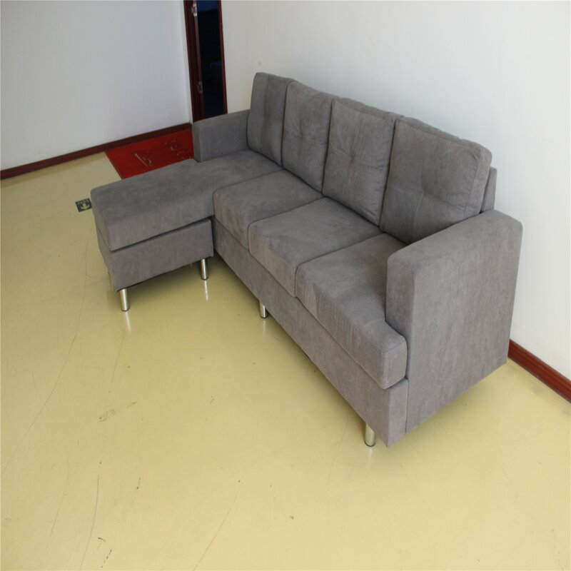 Couch And Sofa Sets For Living Room With Reversible Chaise Lounge L Shape (Grey)