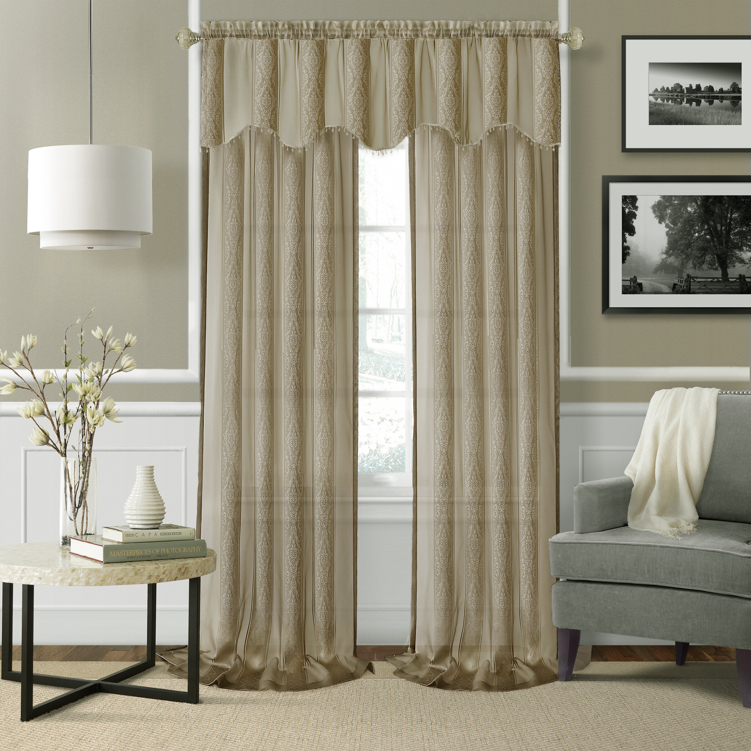 Linen Like Sheer Curtain Valances For Bedroom Sheer Curtain Valance For Living Room 16 Inches Long Sheer Valance Rod Pocket Taupe 1 Panel Window Treatments Home Kitchen