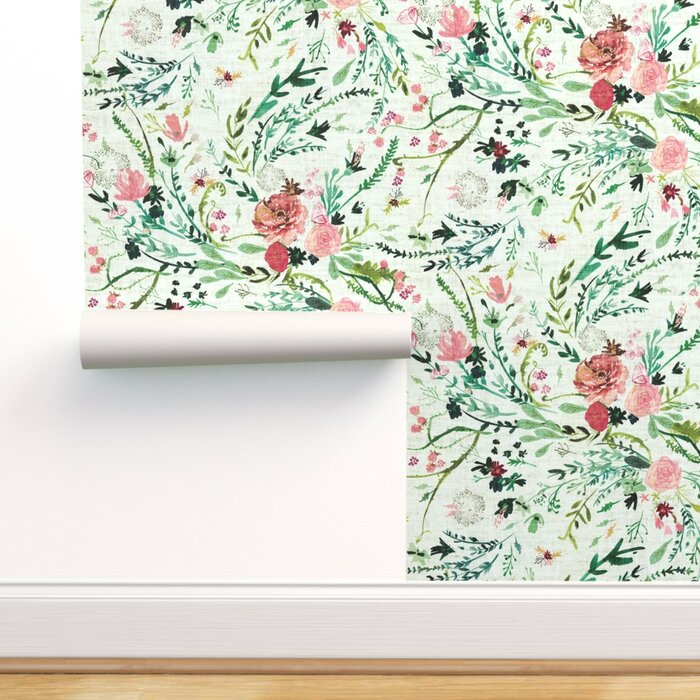 Mukilteo Boho Watercolor Floral Removable Wallpaper Roll