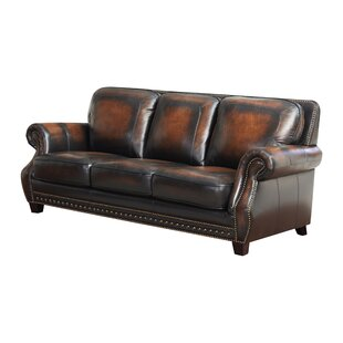 Shop Cletus Leather Sofa by Canora Grey